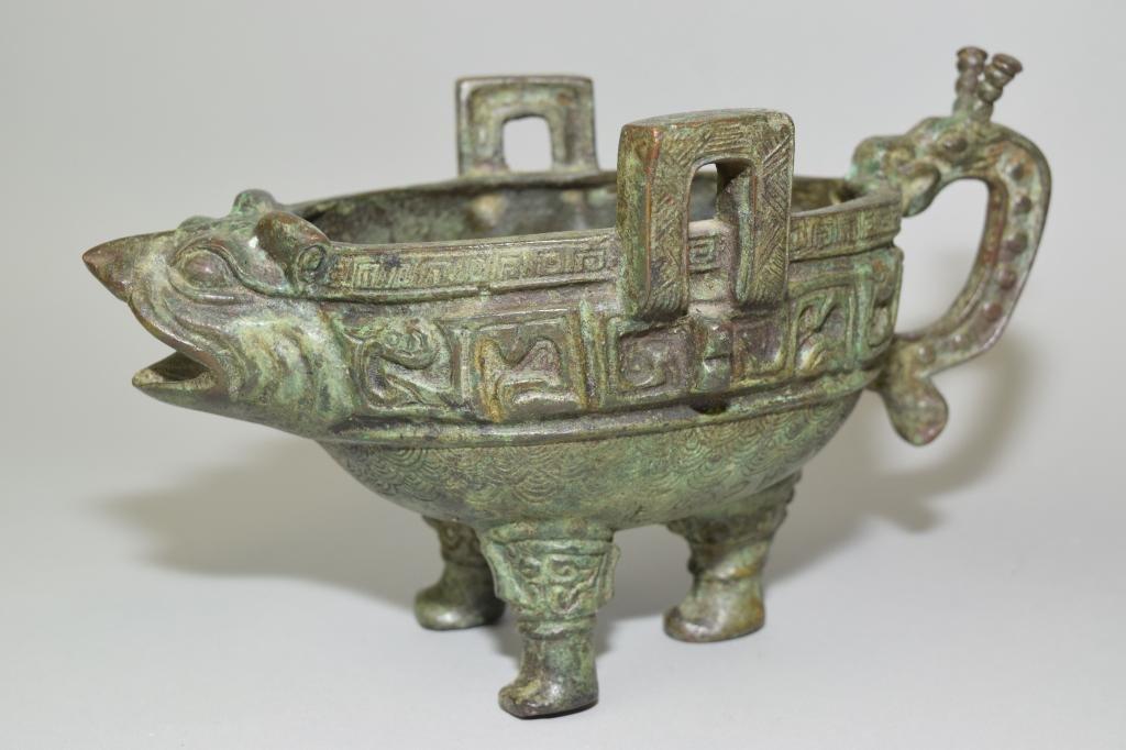 Chinese Faux Bronze Pig Zun
