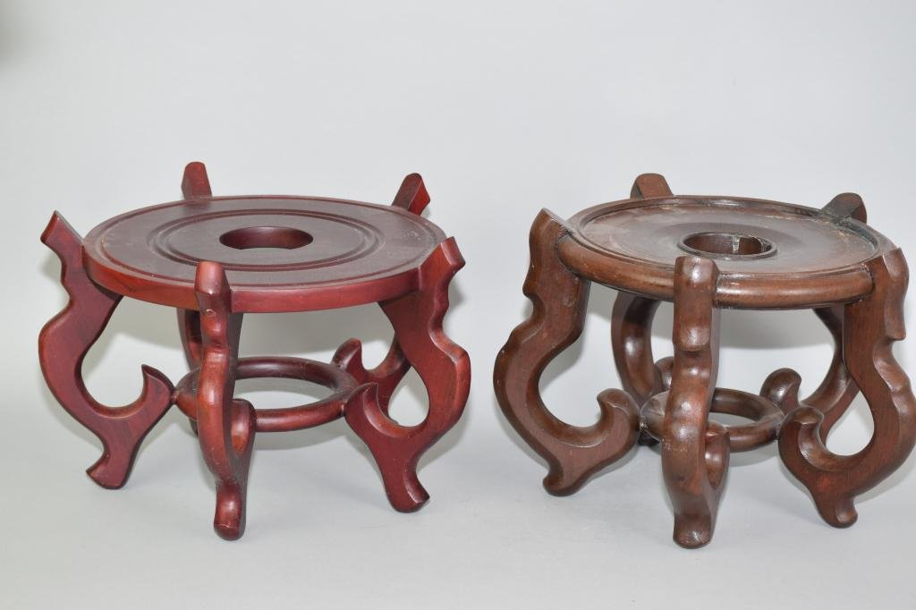 Two Chinese Wood Carved Stands