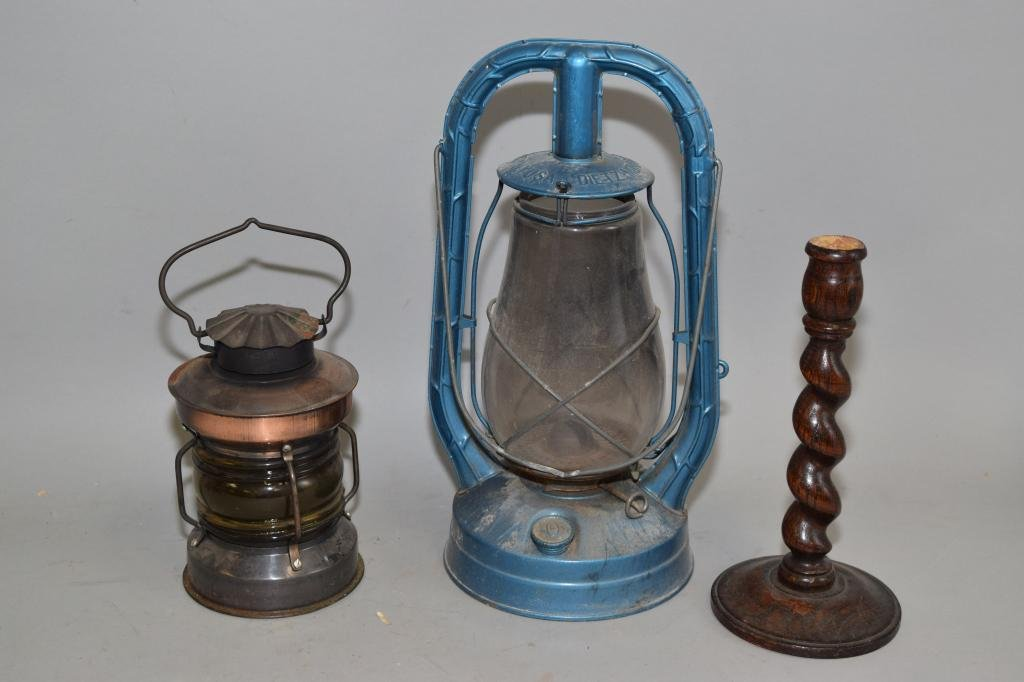 Two Vintage Gas Lamps and Wood Candlestick