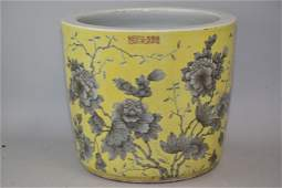 Late Qing Chinese Yellow Glaze Ink Flower Pot TiHeDian