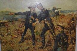 Gilbert Gaul (1855-1919) Battlefield Oil on Board