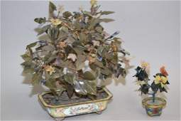 Qing Chinese Jade Tree in Enamel over Bronze Pot