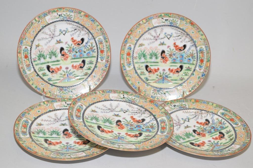 Five 19-20th C. Chinese Export Famille Rose Plates