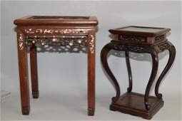 Chinese Hongmu Carved Stand and Stool