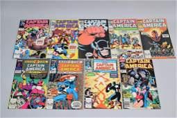 Lot of 9 Vintage Marvel Comic Books CAPTAIN AMERIC