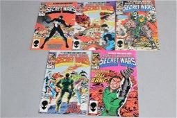 Lot of 5 Vintage Marvel Comic Books SECRET WARS