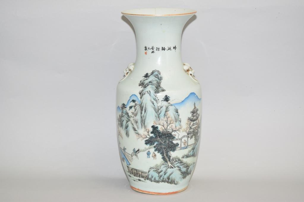 19th C. Chinese Famille Verte Landscape Porcelain
