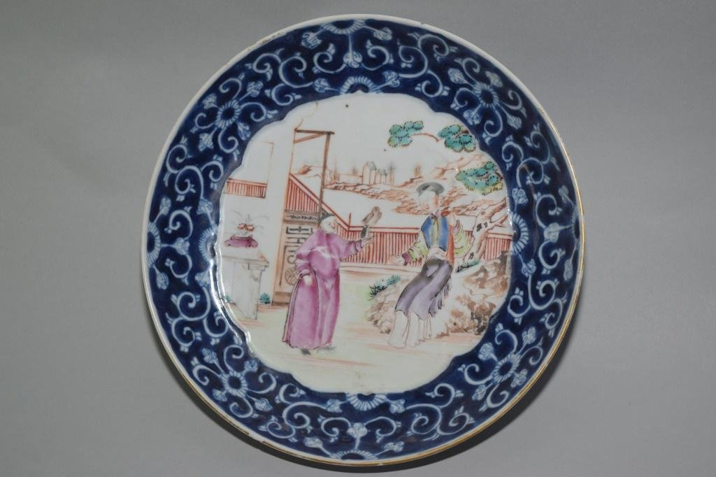 18th C. Chinese Export B&W and Famille Rose Plate