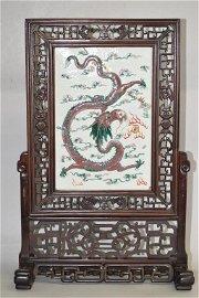 Qing Chinese Wucai Dragon Plaque Hongmu Table Screen