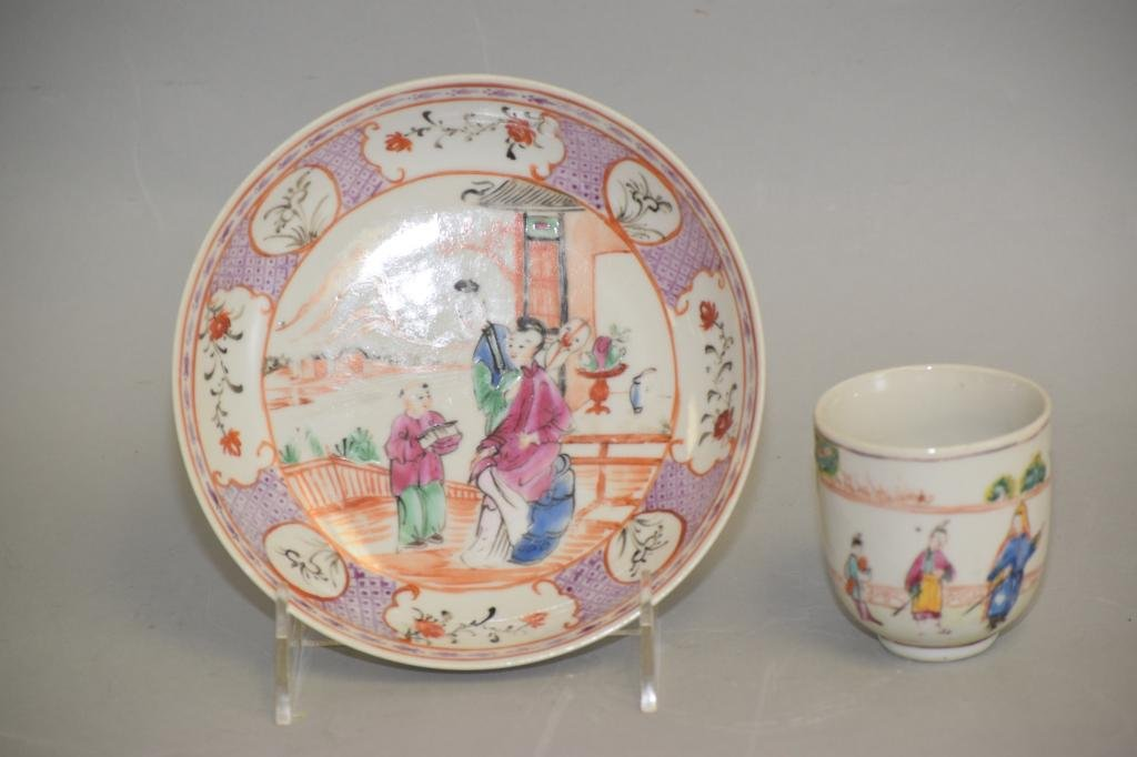 18-19th C. Chinese Export Famille Rose Cup and Plate