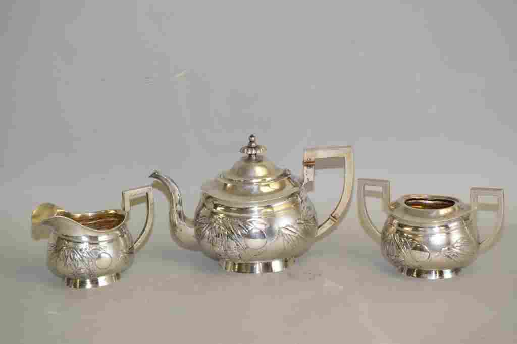 Set of Chinese Export Sterling Silver Tea Wares