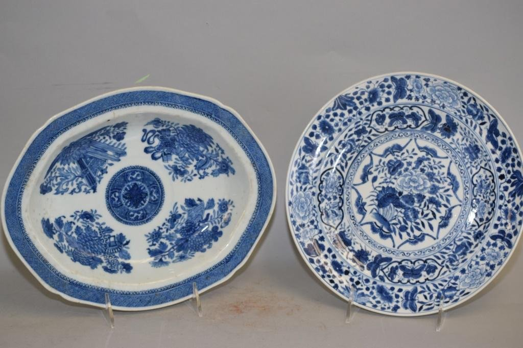 Two Qing Chinese Export Blue and White Plates