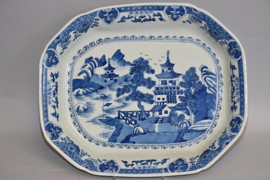 Qing Chinese Export Blue and White Landscape Plate