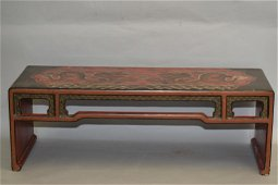 19-20th C. Chinese Red Lacquer Filled Kang Table