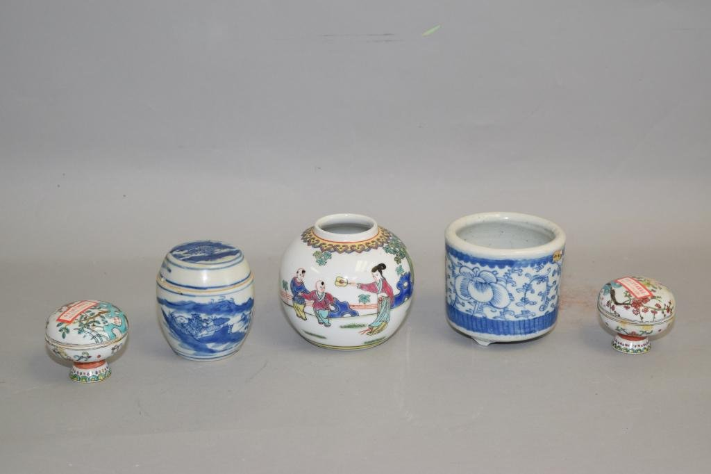Group of 19-20th C. Chinese B&W Famille Rose Wares