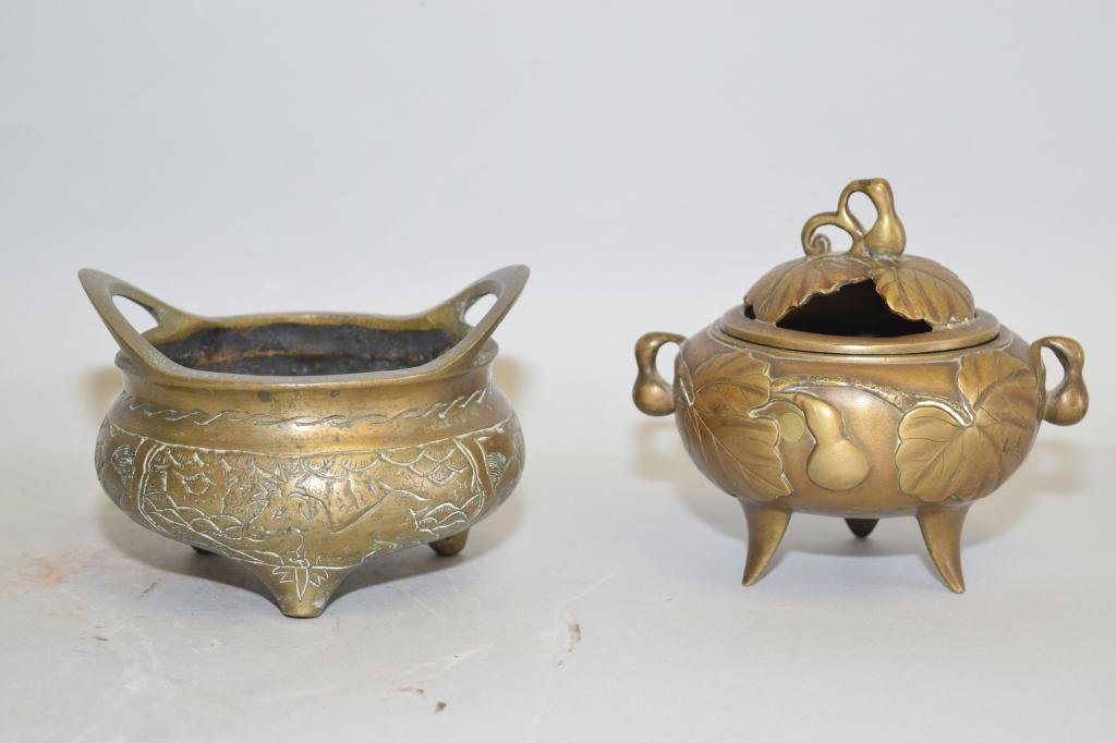 Two 19-20th C. Chinese Bronze Censer