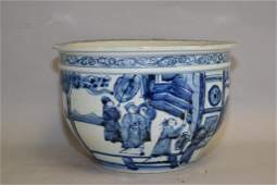 Qing Chinese Blue and White Figures Jardiniere