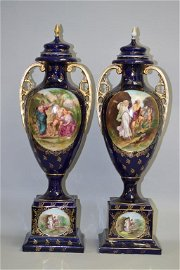 Pr. of 19th C. Victoria Crown Mark Hand Painted Vases