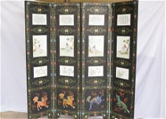 19th C. Chinese Famille Rose Floral Figural Screen