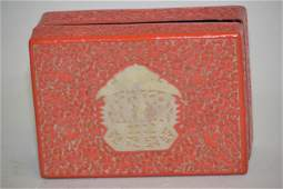 Qing Chinese White Jade Inlay Cinnabar Carved Box