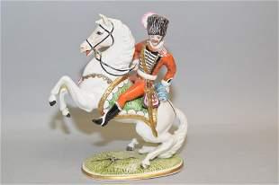 Capodimonte Italy General Riding Horse Figurine