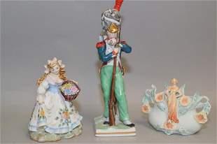 Lefton Porcelain Figurine and European Soldier Figurine