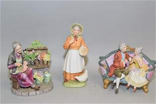 Three Porcelain Figurines, Marked