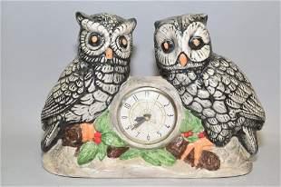 Porcelain Owl Table Clock, Marked