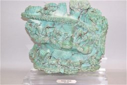 """Magnificent 60lb Carved Turquoise """"Apache Attack"""""""