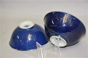 Two Qing Chinese Cobalt Blue Glaze Porcelain Bowls