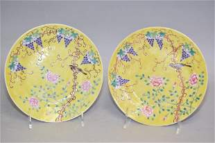 Pr. of Qing Chinese Yellow Glaze Famille Rose Porcelain