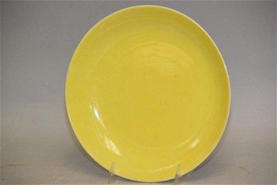Qing Chinese Lemon Yellow Glaze Porcelain Plate,