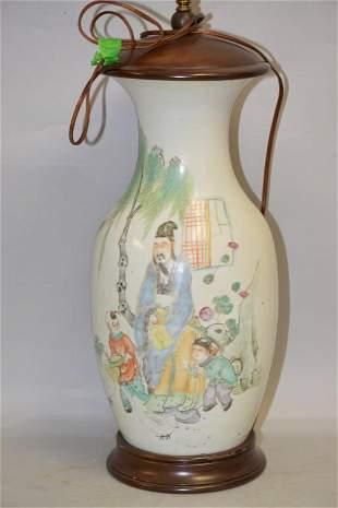 19-20th C. Chinese Famille Rose Porcelain Vase Lamp