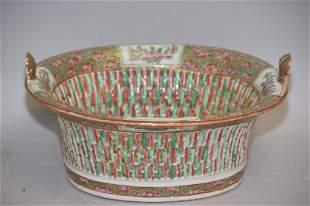 19th C. Chinese Famille Rose Medallion Porcelain Basket