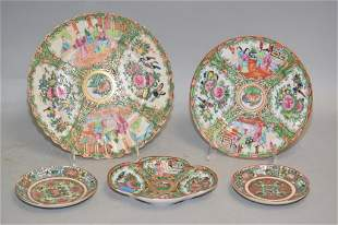 Five 19th C. Chinese Famille Rose Medallion Porcelain