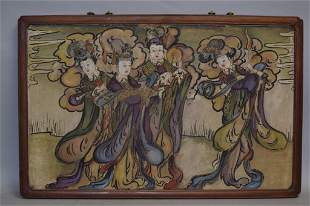 15-19th C. Chinese Tang Style Wall Painting Plaque
