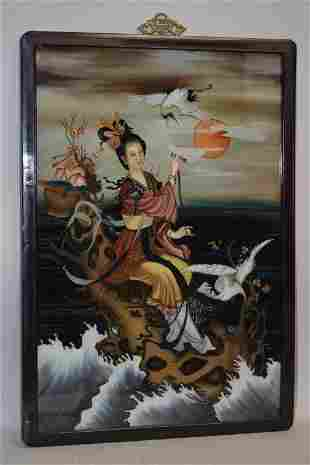 19-20th C. Chinese Reverse Painted Glass Plaque