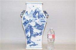 17-18th C. Chinese Porcelain B&W Square Vase