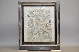 Qing Chinese Guangdong Style Embroidery in Frame