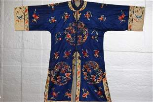 Chinese Blue Silk Embroidered Robe