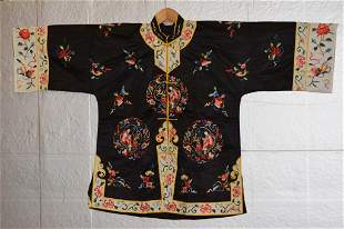 Chinese Black Silk Embroidered Robe
