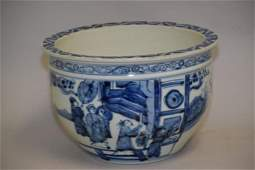 Qing Chinese Porcelain B&W Altar Jardiniere