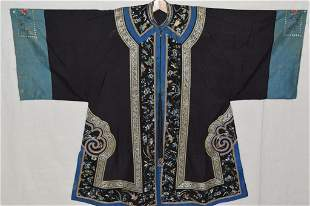18-19th C. Chinese Black Silk Dragon Embroidered Robe