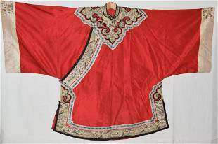 18-19th C. Chinese Red Silk Dragon Embroidered Robe