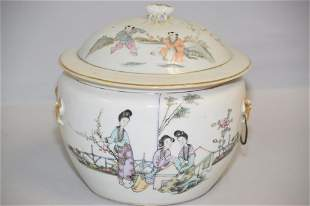 19-20th C. Chinese Porcelain Famille Rose Soup Bowl