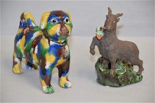 Kangxi Period Chinese Porcelain Sancai Dog and Shiwan