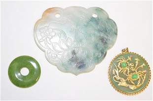 Three 19-20th C. Chinese Jadeite/Jade Carved Amulets