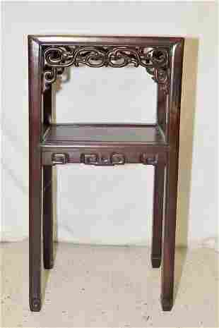 Qing Chinese Marble Inlay Hongmu Carved Stand