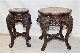 Two Qing Chinese Export Marble Inlay Hongmu Stand