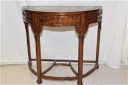 Chinese Marble Inlay Wood Carved Half Moon Table